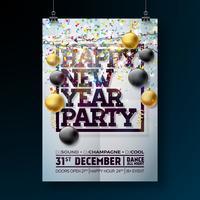 Ilustração do molde do cartaz da celebração do partido do ano novo com projeto da tipografia, bola de vidro e confetes de queda no fundo colorido brilhante. Vector Flyer de convite Premium de férias ou Banner Promo.