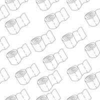 padrão sem emenda com rolos de papel higiênico. padrão de contorno, contorno do rolo de papel higiênico vetor
