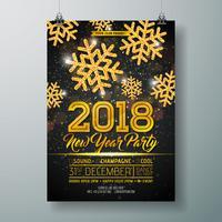 Ilustração do molde do cartaz da celebração do partido do ano novo com 3d o número 2018, a bola do disco e o fogo de artifício no fundo colorido brilhante. Vector Flyer de convite Premium de férias ou Banner Promo.