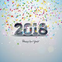 Ilustração do ano novo feliz 2018 com número 3d e bola decorativa no fundo brilhante dos confetes. vetor