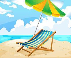 Cena do oceano com assento e guarda-chuva na praia vetor