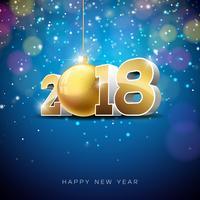 Ilustração do ano novo feliz 2018 do vetor no fundo brilhante da iluminação com projeto da tipografia.