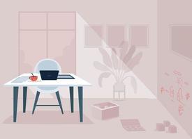 trabalhando ilustração em vetor cor plana quarto dos pais. espaço confuso para mãe e pai que trabalham remotamente. casa com mesa e desenhos de criança. casa 2d cartoon interior com mobília no fundo