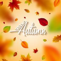 Ilustração do outono com folhas e rotulação de queda no fundo claro. Projeto outonal do vetor para o cartão, a bandeira, o inseto, o convite, o folheto ou o cartaz relativo à promoção.