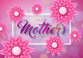 Feliz dia das mães cartão com flores sobre fundo rosa. Modelo de ilustração de celebração de vetor com design tipográfico para banner, panfleto, convite, folheto, cartaz.