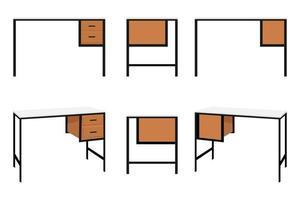fofa moderna linda mesa de escritório em casa com gaveta para freelancer isolada no fundo branco vetor