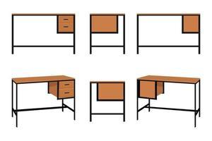 fofa moderna linda mesa de escritório em casa com gaveta para freelancer isolado vetor