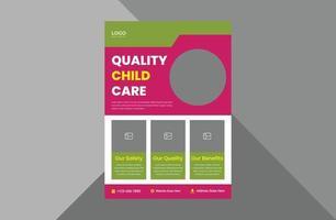 design de folheto de cuidados infantis. kids care design de folheto de pôster de serviço médico. panfleto de saúde mental infantil. modelo a4, design de brochura, capa, folheto, cartaz, pronto para impressão vetor