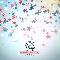 Dia da independência da ilustração vetorial de EUA. Quatro de julho Design com elementos de estrela e tipografia de cor caindo na luz de fundo