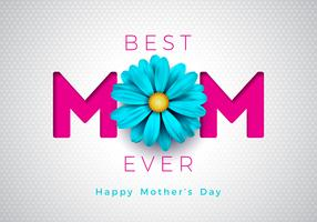 Ilustração feliz do cartão do dia de mães com projeto tipográfico da flor e da mamã no fundo branco. Vector celebração ilustração