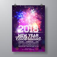 Ilustração 2018 do cartaz da celebração do partido do ano novo com projeto da tipografia e fogo de artifício no fundo colorido brilhante. Vetor de férias Premium convite Flyer modelo ou Promo Banner.