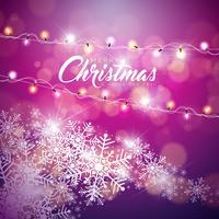 Ilustração do Feliz Natal do vetor no fundo brilhante do floco de neve com a guirlanda da luz da tipografia e do feriado.