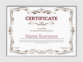 Certificado clássico dourado vintage de modelo de realização