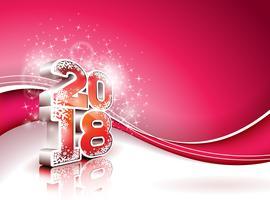 Ilustração do ano novo feliz 2018 do vetor no fundo vermelho brilhante com número 3d. Design de férias para cartão Premium, convite para festa ou Banner Promo.