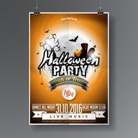 Vector Halloween Party Flyer Design com elementos tipográficos em fundo laranja.