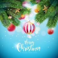 Ilustração do Feliz Natal do vetor com bolas e o ramo decorativos do pinho no fundo azul brilhante. Feliz ano novo tipografia Design para cartão, cartaz, Banner.