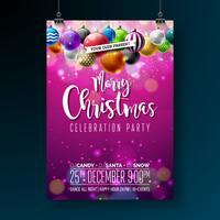 Projeto da festa de Natal feliz do vetor com elementos da tipografia do feriado e bolas decorativas multicoloridos no fundo brilhante. Ilustração de Flyer de celebração Premium.