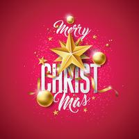 Ilustração do Feliz Natal do vetor com a bola de vidro do ouro, estrela de papel do entalhe e elementos da tipografia no fundo vermelho. Design de férias para cartão Premium, convite para festa ou Banner Promo.