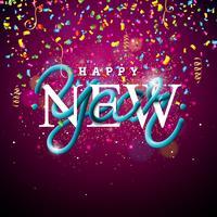 Ilustração de feliz ano novo com Design de tipografia de tubo entrelaçado e confetes coloridos sobre fundo brilhante. Vector feriado EPS 10 design.