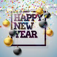 Ilustração 2018 feliz do ano novo com projeto da tipografia e festão da luz, bola de vidro no fundo brilhante dos confetes. Vector Holiday Design para Premium Greeting Card, convite para festa ou Promo Banner.