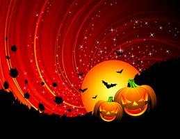 ilustração vetorial em um tema de Halloween com abóboras
