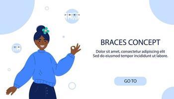 sorrindo adolescente com aparelho. conceito de aparelho dentário. cuidado dental. sorridente garota afro americana com aparelho nos dentes em estilo simples. tratamento ortodôntico. página de destino para clínica odontológica. fundo branco vetor