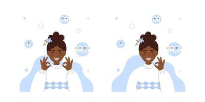 sorrindo afro americana adolescente com aparelho. conceito de aparelho dentário. cuidado dental. garota sorridente com aparelho ortodôntico em estilo simples. tratamento ortodôntico. garota mostrando sinal ok. isolado no branco. vetor