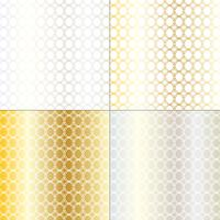 padrão de treliça geométrica prata e ouro mod círculo vetor