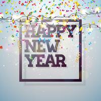 Ilustração do ano novo feliz 2018 do vetor com projeto da tipografia e festão da luz no fundo brilhante dos confetes. Design de férias para cartão Premium, convite para festa ou Banner Promo.