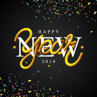 Ilustração do ano novo feliz 2018 com projeto da tipografia do tubo entrelaçado e confetes coloridos no fundo preto. Vector feriado EPS 10 design.