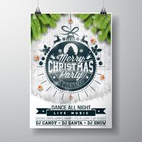 Vector design de festa de Natal feliz com elementos de tipografia do feriado e estrelas brilhantes sobre fundo de madeira vintage.