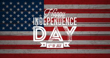 Feliz dia da independência da ilustração vetorial de EUA. Quarto de julho Design com bandeira em fundo de madeira Vintage para Banner, cartão, convite ou cartaz de férias.