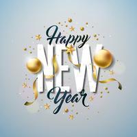 Ilustração do ano novo feliz com letra da tipografia e bola decorativa no fundo branco. Vector Holiday Design para Premium Greeting Card, convite para festa ou Promo Banner.