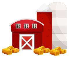 Celeiro vermelho e dois silo na fazenda vetor