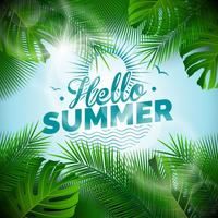 Ilustração tipográfica do vetor Olá Verão com plantas tropicais sobre fundo azul claro.