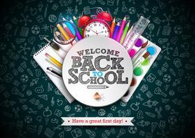 De volta ao projeto da escola com lápis colorido, letras de tipografia e outros itens da escola vetor