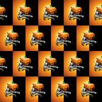 Ilustração de padrão sem emenda de Halloween com rostos assustadores de abóboras e lua