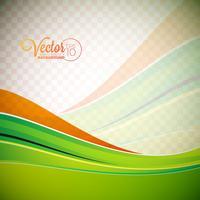 Fundo abstrato do vetor com ondas verdes