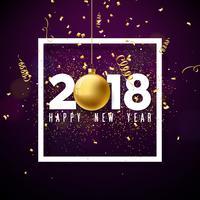 Ilustração do ano novo feliz 2018 do vetor com número branco e bola decorativa no fundo brilhante dos confetes. Design de férias para cartão Premium, convite para festa ou Banner Promo.