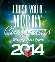 Vector a ilustração de Natal com design tipográfico e caixa de presente no fundo brilhante