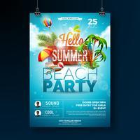 Vector verão praia festa Flyer Design com elementos tipográficos em fundo de textura de madeira. Elementos florais da natureza do verão, plantas tropicais, flor, bola de praia e guarda-sol com o céu nebuloso azul