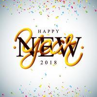 Ilustração do ano novo feliz 2018 com projeto da tipografia do tubo entrelaçado e confetes coloridos no fundo branco. Vector feriado EPS 10 design.