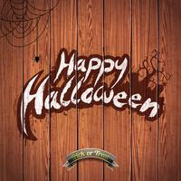 Vector a ilustração feliz de Dia das Bruxas com elementos tipográficos e a aranha no fundo de madeira.
