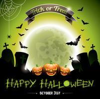 Vector a ilustração em um tema feliz de Halloween com abóboras.