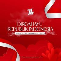 Fundo de celebração do 76º Dia da Independência da Indonésia com bandeira agitando vetor