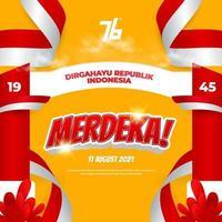76º dia da independência da indonésia fundo de celebração dos meios de dirgahayu republik indonésia vetor