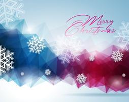 Vector a ilustração de Natal com design tipográfico em fundo de flocos de neve.