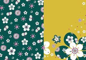 Pacote de papel de parede floral esmeralda vetor