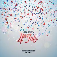 Dia da independência da ilustração vetorial de EUA. 4 de julho Design com elementos de confetes e tipografia de cor caindo na luz de fundo
