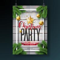 Projeto do inseto da festa de Natal alegre do vetor com elementos da tipografia do feriado e as bolas decorativas no fundo da madeira do vintage. Ilustração de cartaz de celebração Premium.